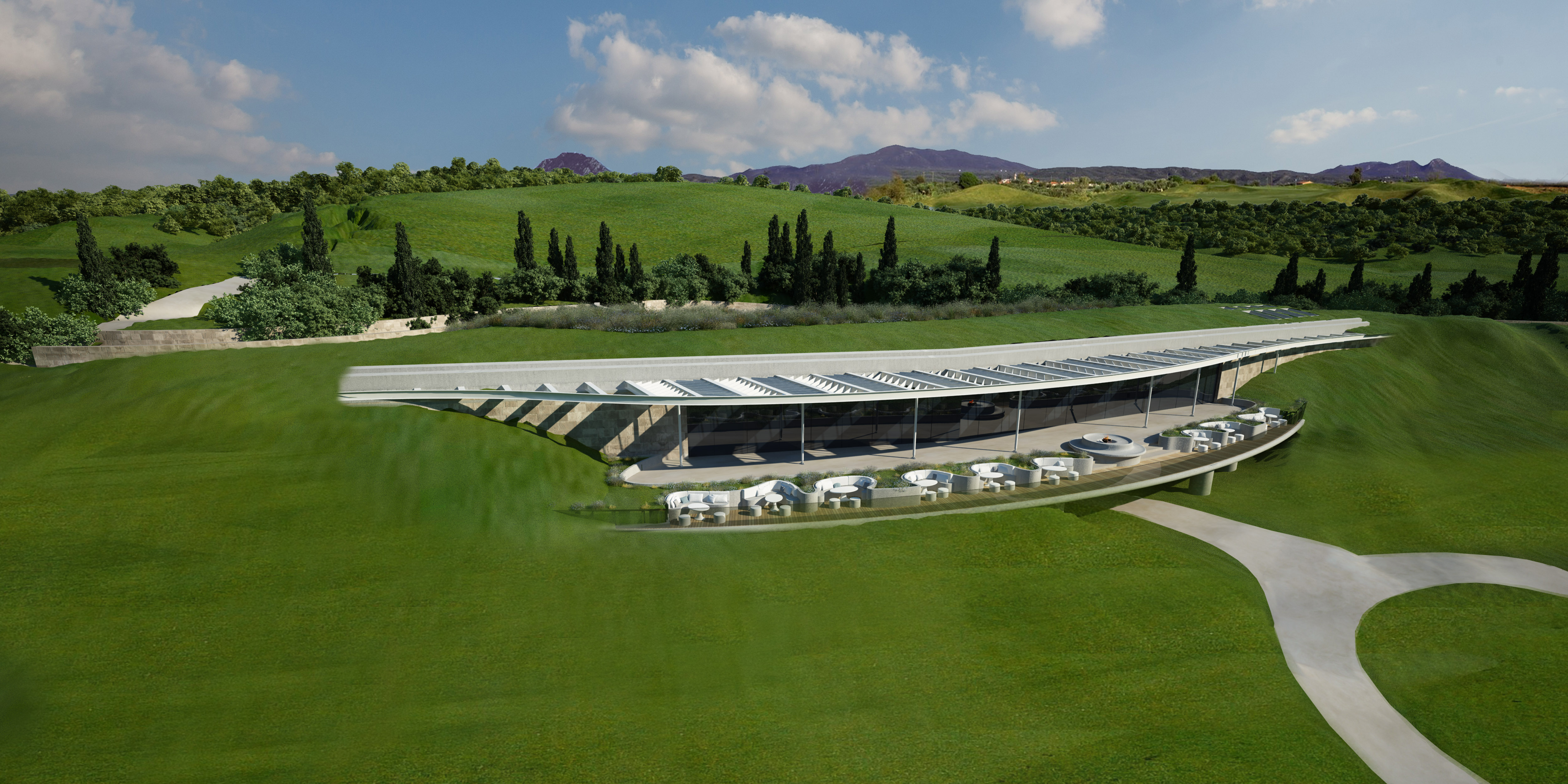 New earth-sheltered Clubhouse at The Bay Course